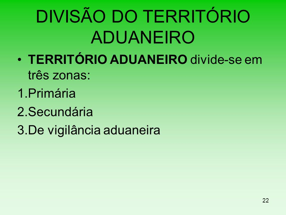 DIVISÃO DO TERRITÓRIO ADUANEIRO TERRITÓRIO ADUANEIRO divide-se em três zonas: 1.Primária 2.Secundária 3.De vigilância aduaneira 22