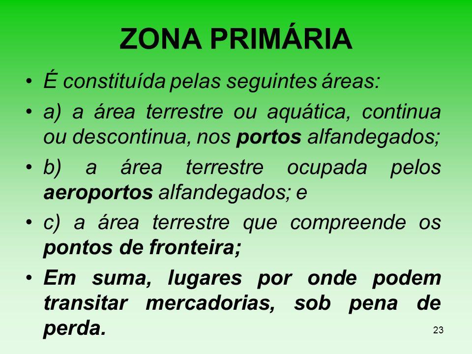 ZONA PRIMÁRIA É constituída pelas seguintes áreas: a) a área terrestre ou aquática, continua ou descontinua, nos portos alfandegados; b) a área terres