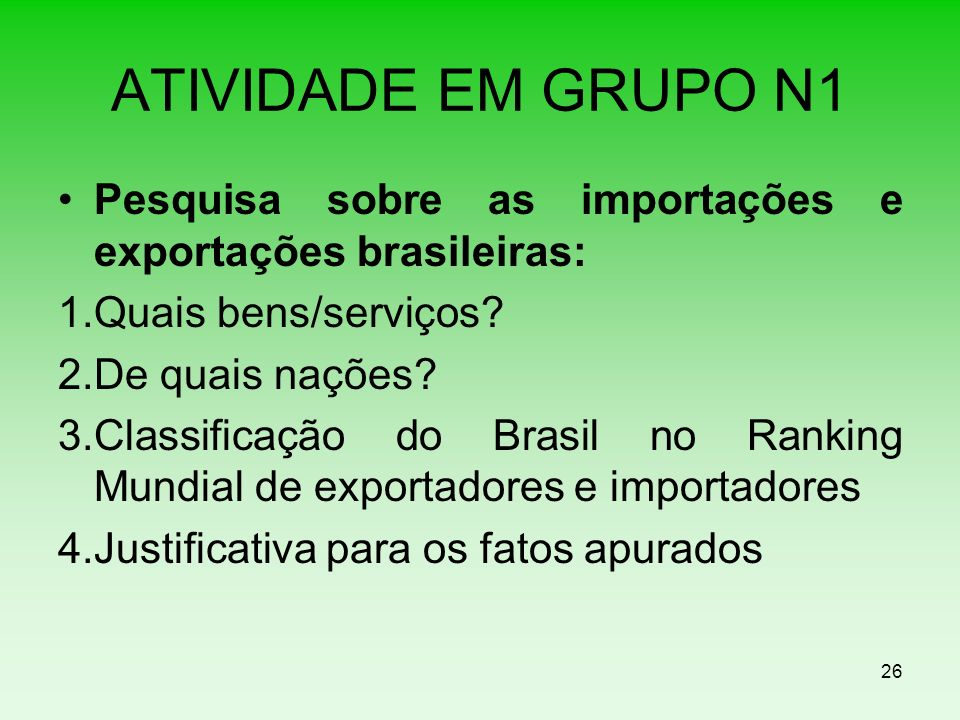 ATIVIDADE EM GRUPO N1 Pesquisa sobre as importações e exportações brasileiras: 1.Quais bens/serviços? 2.De quais nações? 3.Classificação do Brasil no