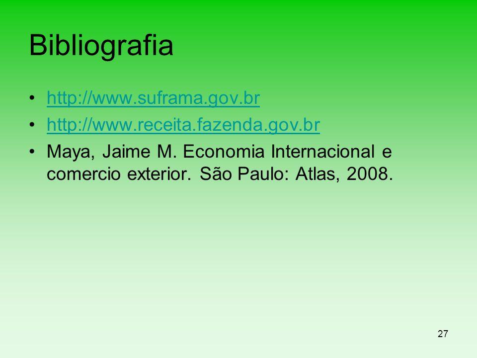 27 Bibliografia http://www.suframa.gov.br http://www.receita.fazenda.gov.br Maya, Jaime M. Economia Internacional e comercio exterior. São Paulo: Atla