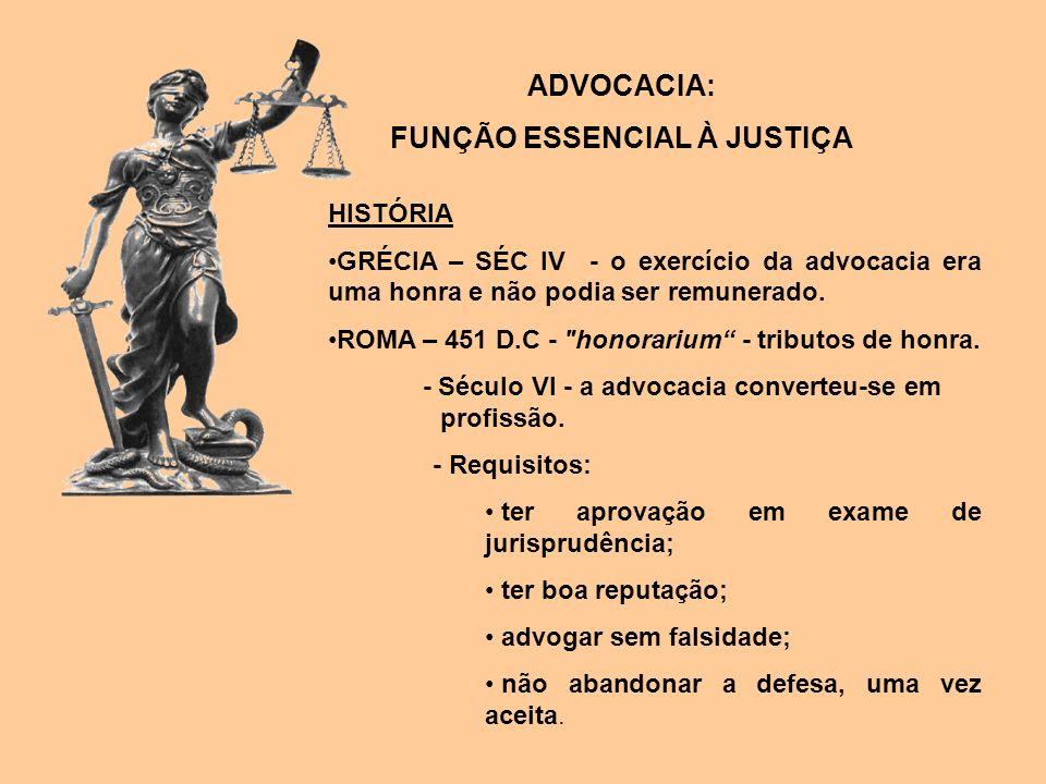 ADVOCACIA: FUNÇÃO ESSENCIAL À JUSTIÇA HISTÓRIA GRÉCIA – SÉC IV - o exercício da advocacia era uma honra e não podia ser remunerado. ROMA – 451 D.C -