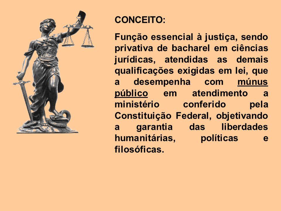CONCEITO: Função essencial à justiça, sendo privativa de bacharel em ciências jurídicas, atendidas as demais qualificações exigidas em lei, que a dese