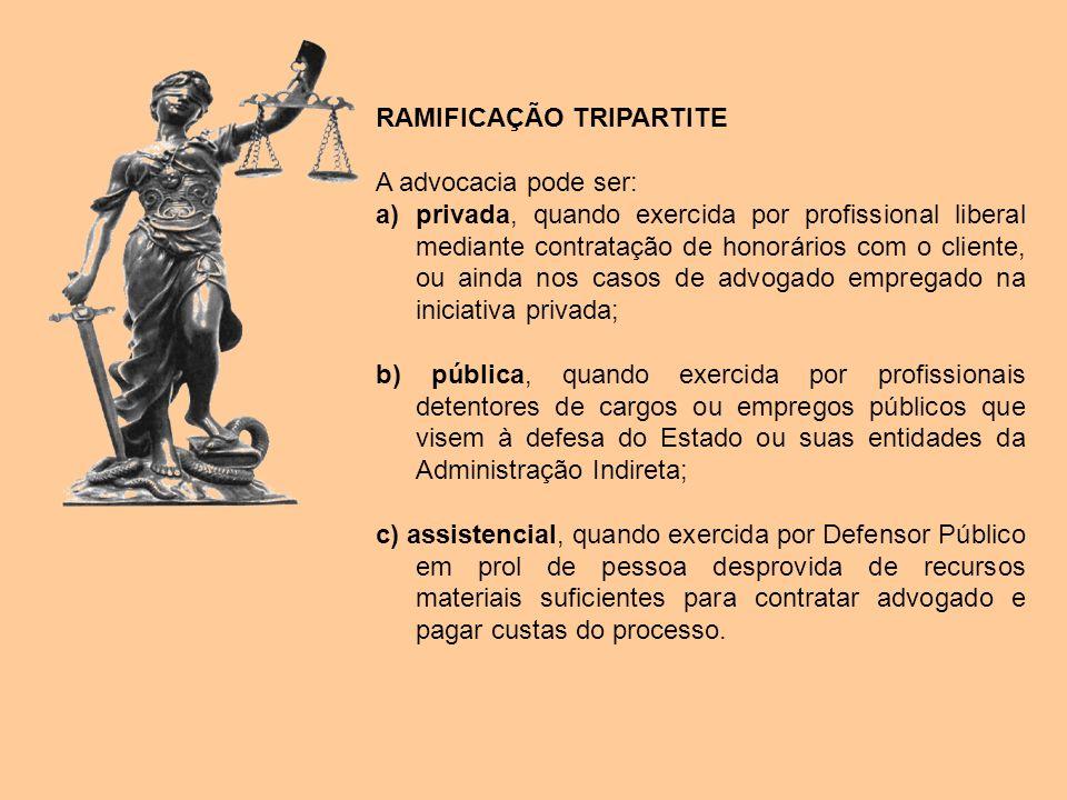 RAMIFICAÇÃO TRIPARTITE A advocacia pode ser: a)privada, quando exercida por profissional liberal mediante contratação de honorários com o cliente, ou