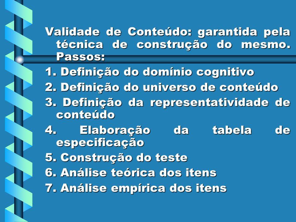 Validade de Conteúdo: garantida pela técnica de construção do mesmo. Passos: 1. Definição do domínio cognitivo 2. Definição do universo de conteúdo 3.