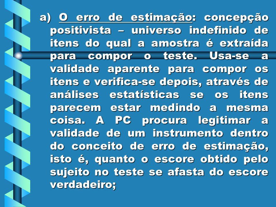a) O erro de estimação: concepção positivista – universo indefinido de itens do qual a amostra é extraída para compor o teste. Usa-se a validade apare