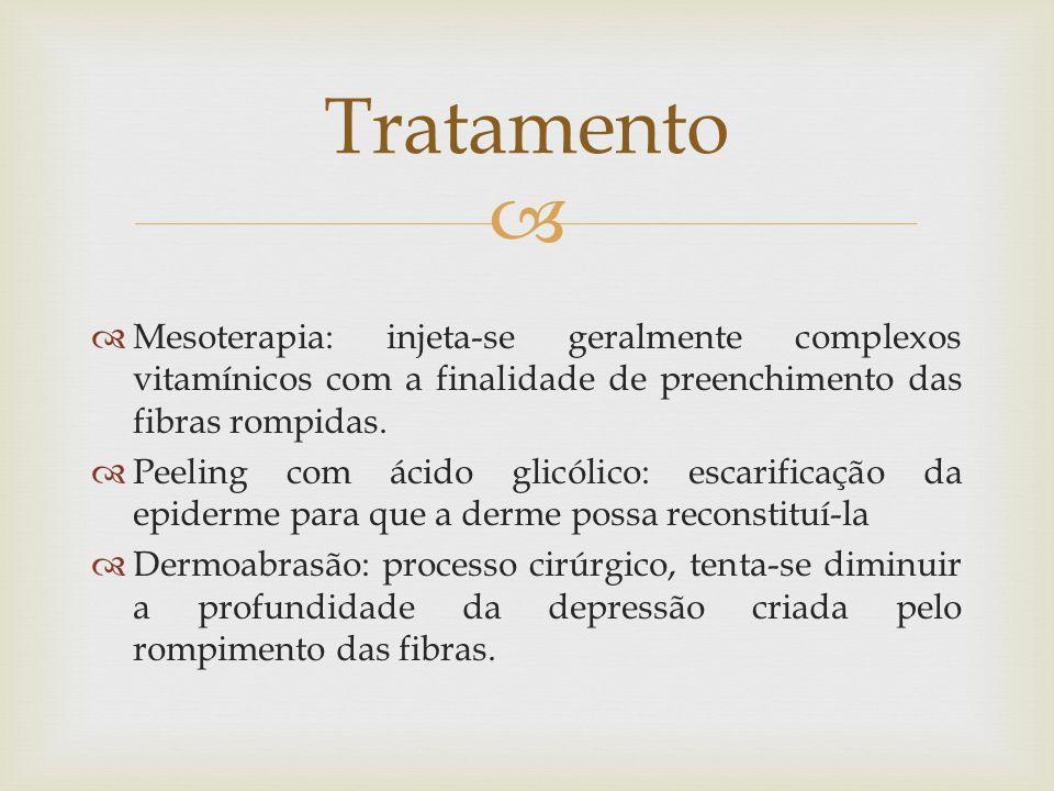 Mesoterapia: injeta-se geralmente complexos vitamínicos com a finalidade de preenchimento das fibras rompidas. Peeling com ácido glicólico: escarifica