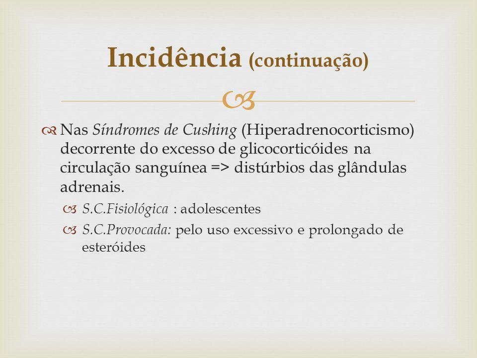 Nas Síndromes de Cushing (Hiperadrenocorticismo) decorrente do excesso de glicocorticóides na circulação sanguínea => distúrbios das glândulas adrenai