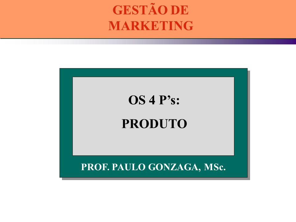 PROF. PAULO GONZAGA, MSc. OS 4 Ps: PRODUTO GESTÃO DE MARKETING