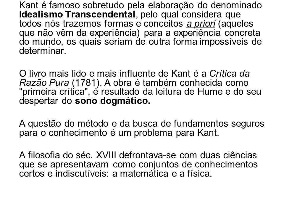 Kant solucionou esses problemas mediante uma revolução (semelhante à de Copérnico na astronomia) no modo de encarar as relações entre o conhecimento e seu objeto.