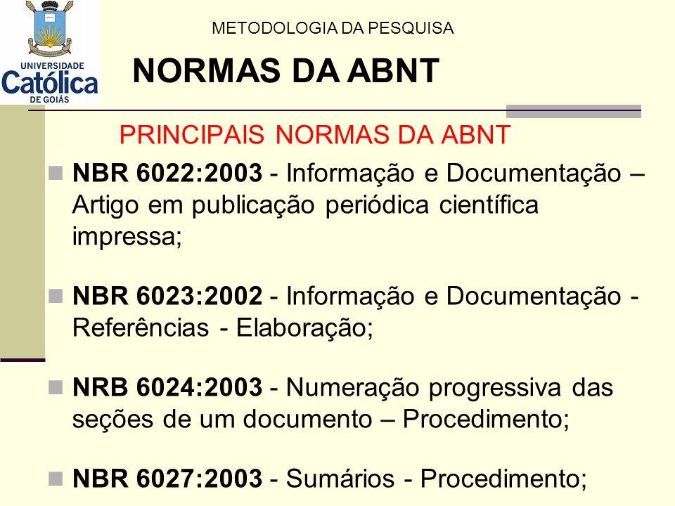 PRINCIPAIS NORMAS DA ABNT NBR 6027:2003 - Sumários - Procedimento; NBR 6028:2003 - Resumos - Procedimentos, NBR 10520:2002 - Informação e Documentação Apresentação de citações em documentos, NBR 14724:2005 - Informação e Documentação - Trabalhos acadêmicos – Apresentação; NBR 15287:2005 Informação e Documentação - Projeto de pesquisa - Apresentação.