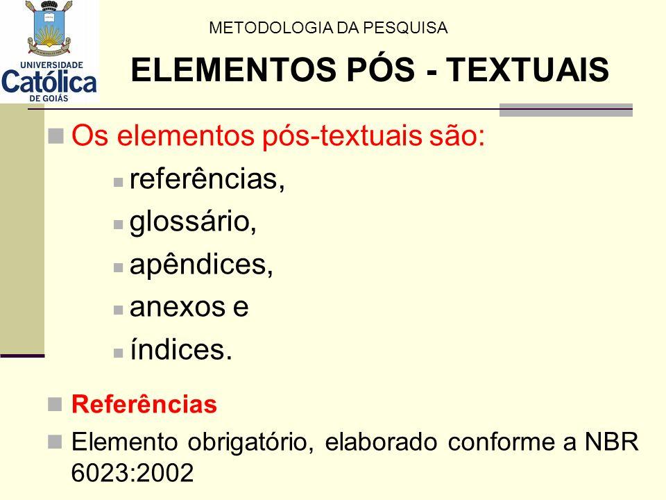 Os elementos pós-textuais são: referências, glossário, apêndices, anexos e índices. Referências Elemento obrigatório, elaborado conforme a NBR 6023:20