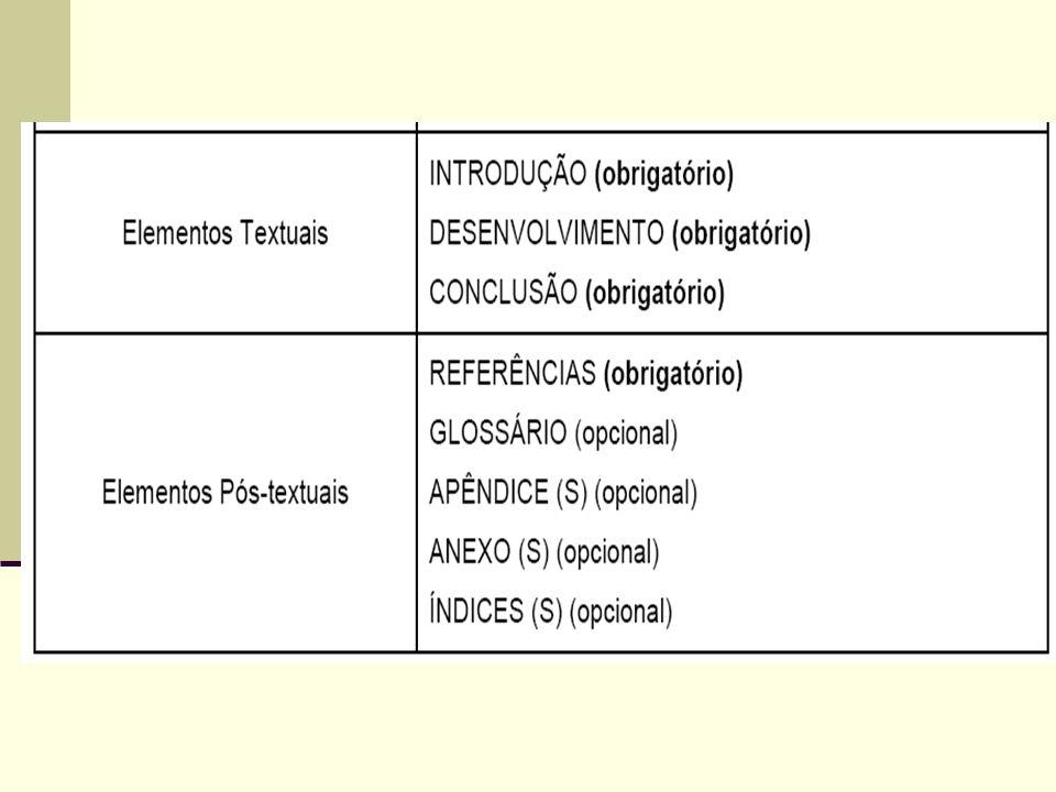 Anexos Elemento opcional, destinam-se à inclusão de materiais não elaborados pelo próprio autor, como cópias de artigos, manuais, folders, balancetes, etc.