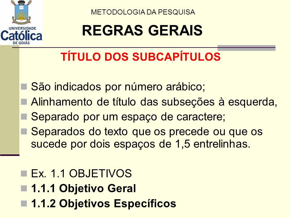 TÍTULO DOS SUBCAPÍTULOS São indicados por número arábico; Alinhamento de título das subseções à esquerda, Separado por um espaço de caractere; Separad