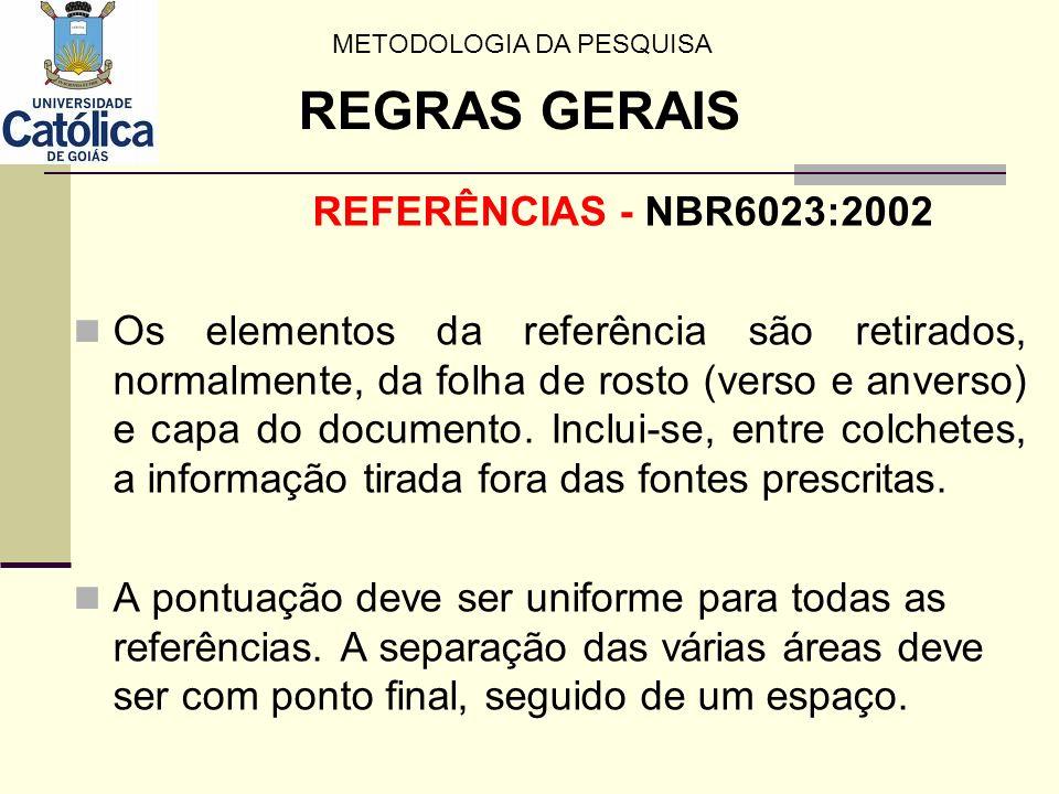 REFERÊNCIAS - NBR6023:2002 Os elementos da referência são retirados, normalmente, da folha de rosto (verso e anverso) e capa do documento. Inclui-se,