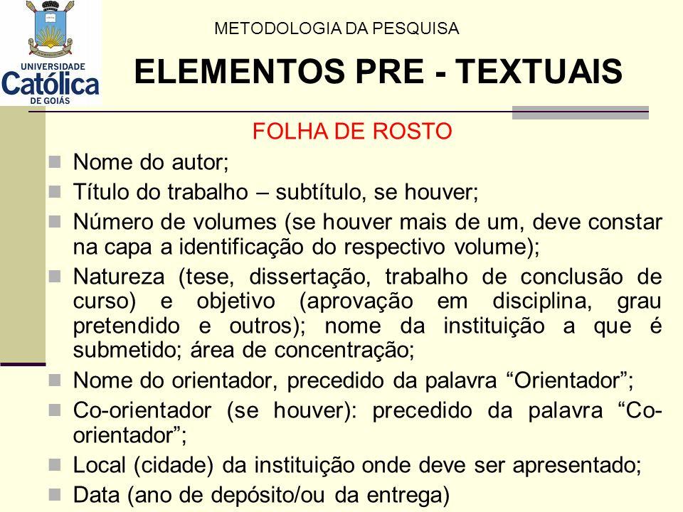 Regras de Apresentação do Sumário Os elementos pré-textuais NÃO DEVEM aparecer no sumário; Os indicativos das seções (capítulos) e subseções (subcapítulos) com seus respectivos títulos, devem ser alinhados à esquerda.