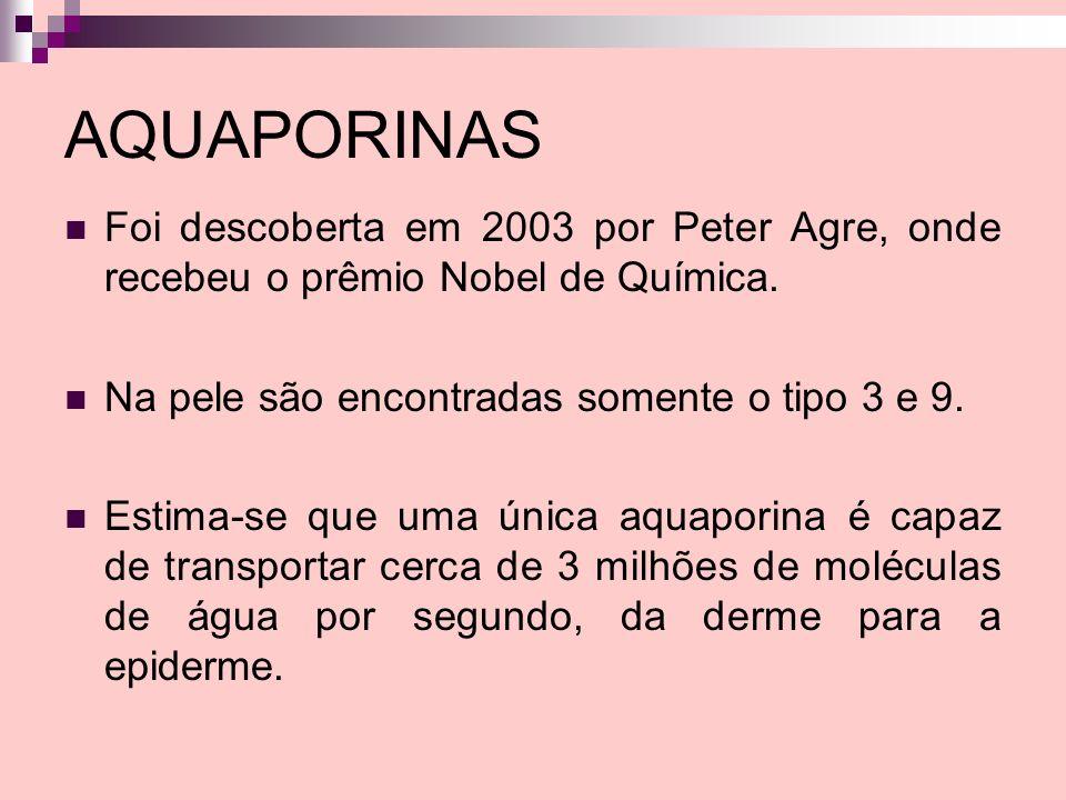 AQUAPORINAS Foi descoberta em 2003 por Peter Agre, onde recebeu o prêmio Nobel de Química. Na pele são encontradas somente o tipo 3 e 9. Estima-se que