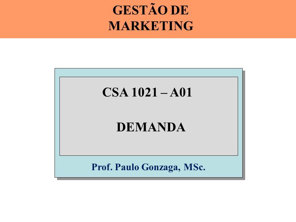 Prof. Paulo Gonzaga, MSc. CSA 1021 – A01 DEMANDA GESTÃO DE MARKETING