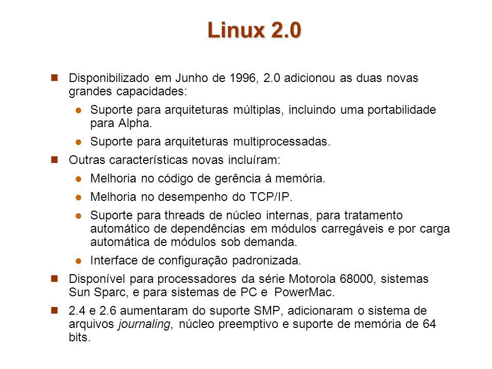Linux 2.0 Disponibilizado em Junho de 1996, 2.0 adicionou as duas novas grandes capacidades: Suporte para arquiteturas múltiplas, incluindo uma portab