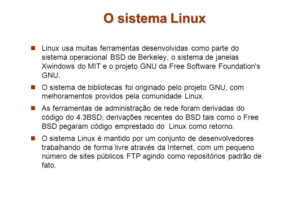O sistema Linux Linux usa muitas ferramentas desenvolvidas como parte do sistema operacional BSD de Berkeley, o sistema de janelas Xwindows do MIT e o