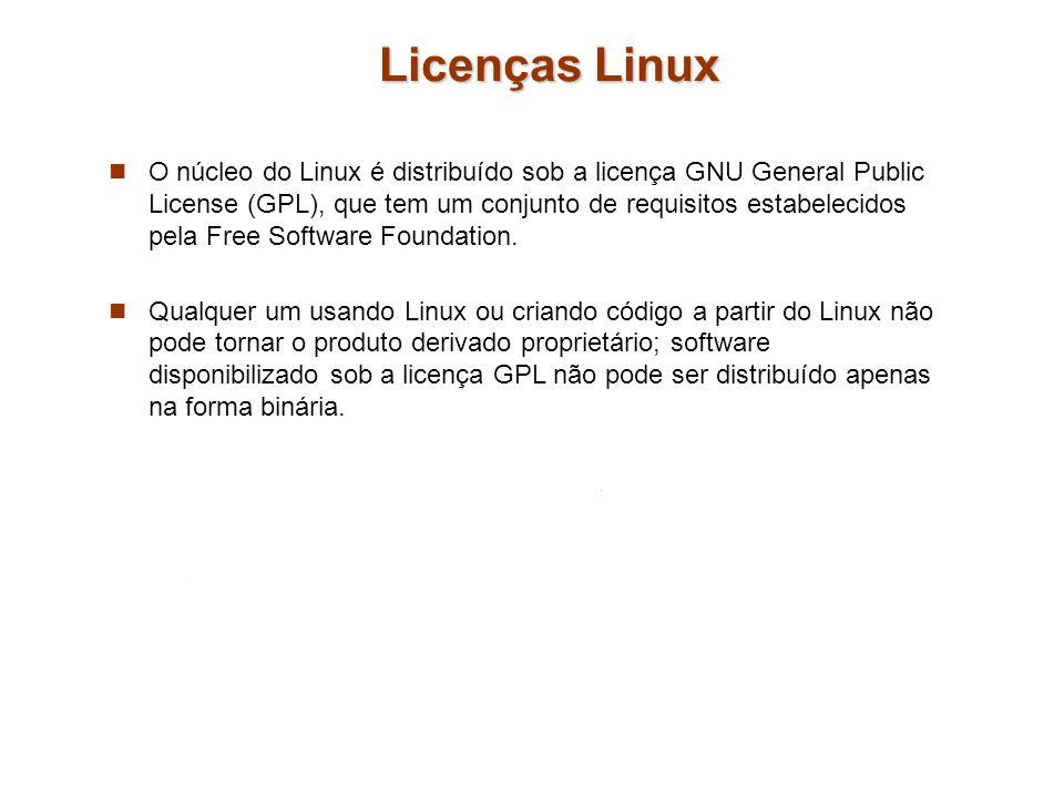 Licenças Linux O núcleo do Linux é distribuído sob a licença GNU General Public License (GPL), que tem um conjunto de requisitos estabelecidos pela Fr