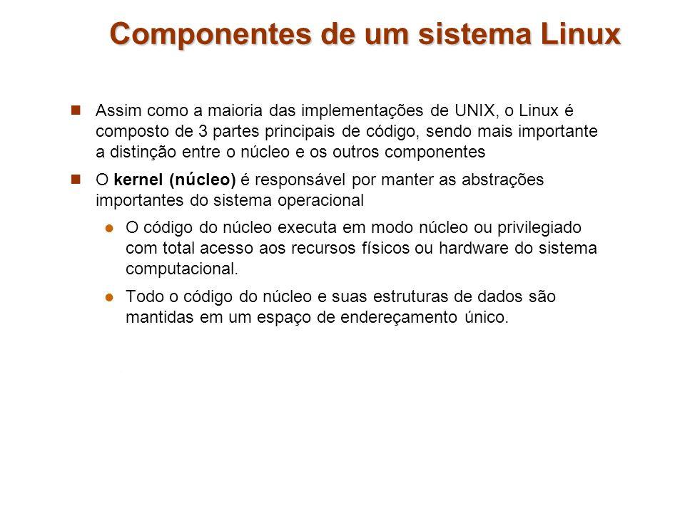 Assim como a maioria das implementações de UNIX, o Linux é composto de 3 partes principais de código, sendo mais importante a distinção entre o núcleo