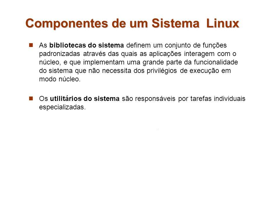Componentes de um Sistema Linux As bibliotecas do sistema definem um conjunto de funções padronizadas através das quais as aplicações interagem com o