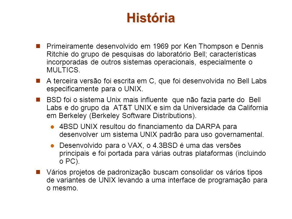 História Primeiramente desenvolvido em 1969 por Ken Thompson e Dennis Ritchie do grupo de pesquisas do laboratório Bell; características incorporadas