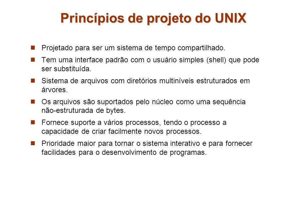 Princípios de projeto do UNIX Projetado para ser um sistema de tempo compartilhado. Tem uma interface padrão com o usuário simples (shell) que pode se