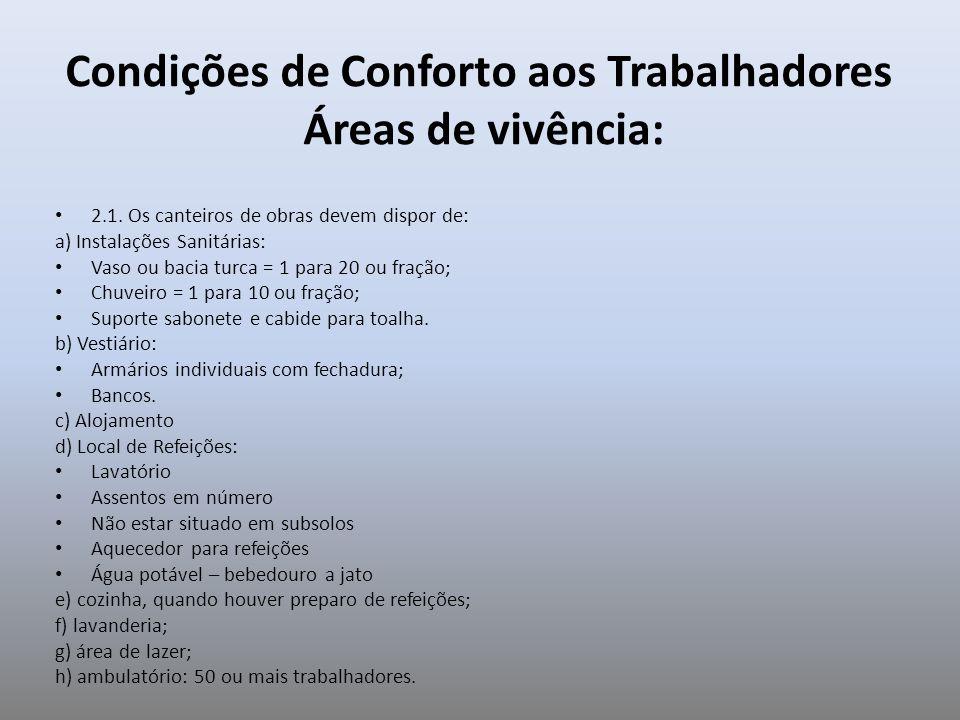 Condições de Conforto aos Trabalhadores Áreas de vivência: 2.1. Os canteiros de obras devem dispor de: a) Instalações Sanitárias: Vaso ou bacia turca