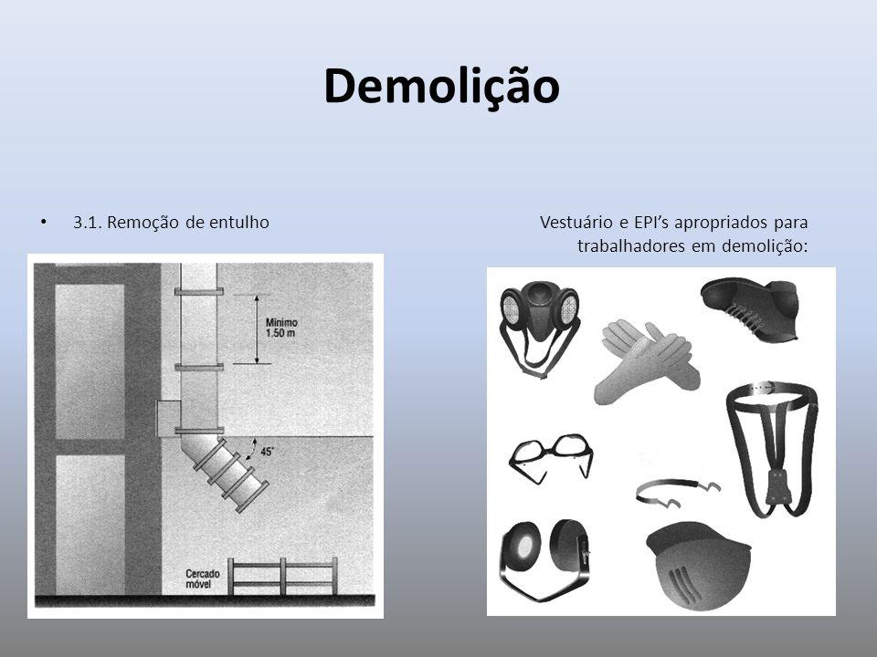 3.1. Remoção de entulho Vestuário e EPIs apropriados para trabalhadores em demolição: Demolição