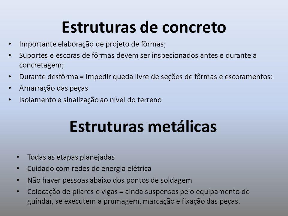 Estruturas de concreto Importante elaboração de projeto de fôrmas; Suportes e escoras de fôrmas devem ser inspecionados antes e durante a concretagem;