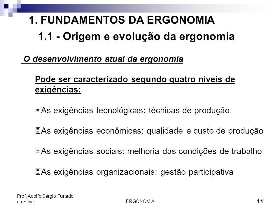 ERGONOMIA 11 Prof. Adolfo Sérgio Furtado da Silva 1. FUNDAMENTOS DA ERGONOMIA 1.1 - Origem e evolução da ergonomia O desenvolvimento atual da ergonomi