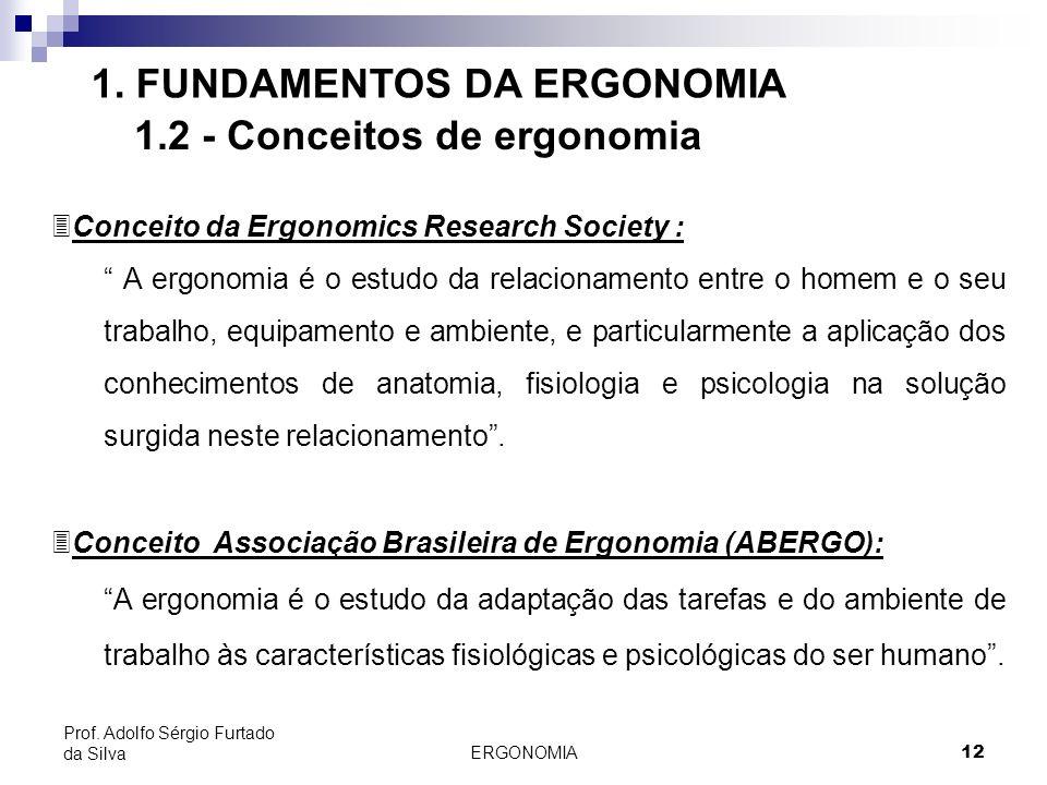 ERGONOMIA 12 Prof. Adolfo Sérgio Furtado da Silva 1. FUNDAMENTOS DA ERGONOMIA 1.2 - Conceitos de ergonomia 3Conceito da Ergonomics Research Society :