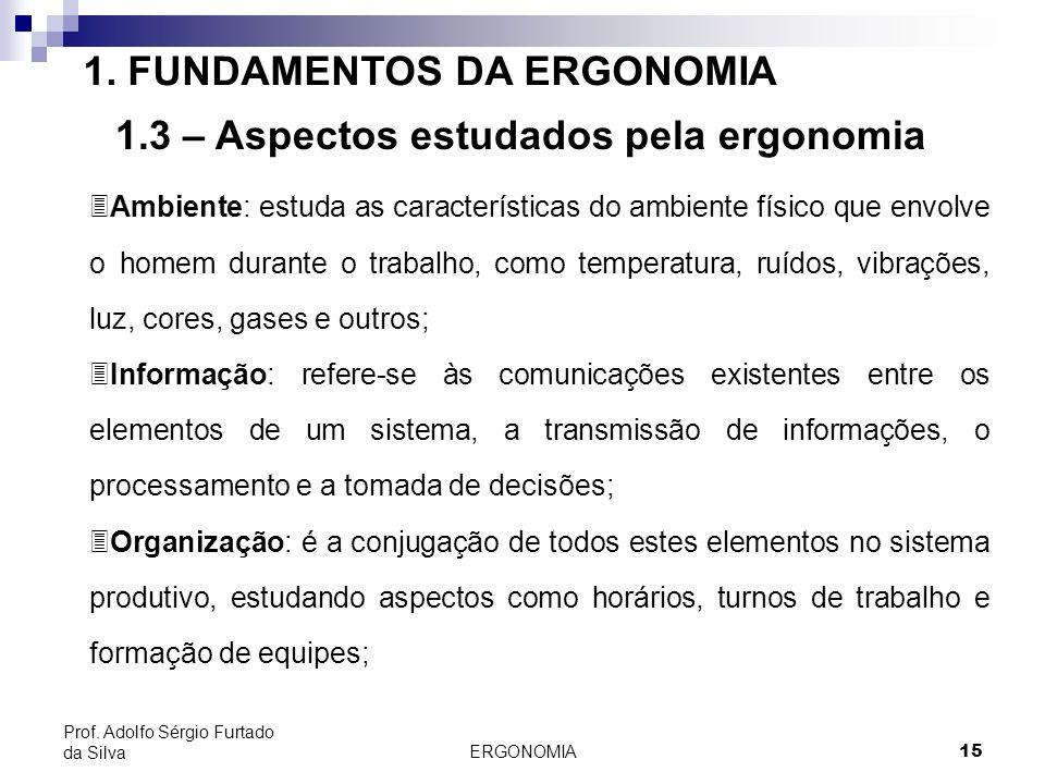 ERGONOMIA 15 Prof. Adolfo Sérgio Furtado da Silva 1. FUNDAMENTOS DA ERGONOMIA 1.3 – Aspectos estudados pela ergonomia 3Ambiente: estuda as característ