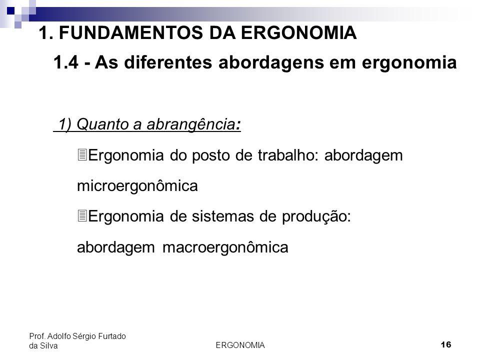 ERGONOMIA 16 Prof. Adolfo Sérgio Furtado da Silva 1. FUNDAMENTOS DA ERGONOMIA 1.4 - As diferentes abordagens em ergonomia 1) Quanto a abrangência: 3Er