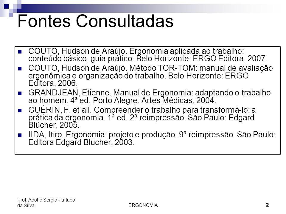 2 Prof. Adolfo Sérgio Furtado da Silva Fontes Consultadas COUTO, Hudson de Araújo. Ergonomia aplicada ao trabalho: conteúdo básico, guia prático. Belo