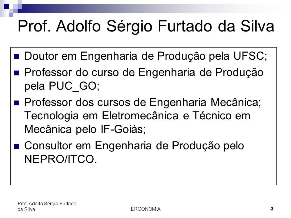 ERGONOMIA 3 Prof. Adolfo Sérgio Furtado da Silva Doutor em Engenharia de Produção pela UFSC; Professor do curso de Engenharia de Produção pela PUC_GO;