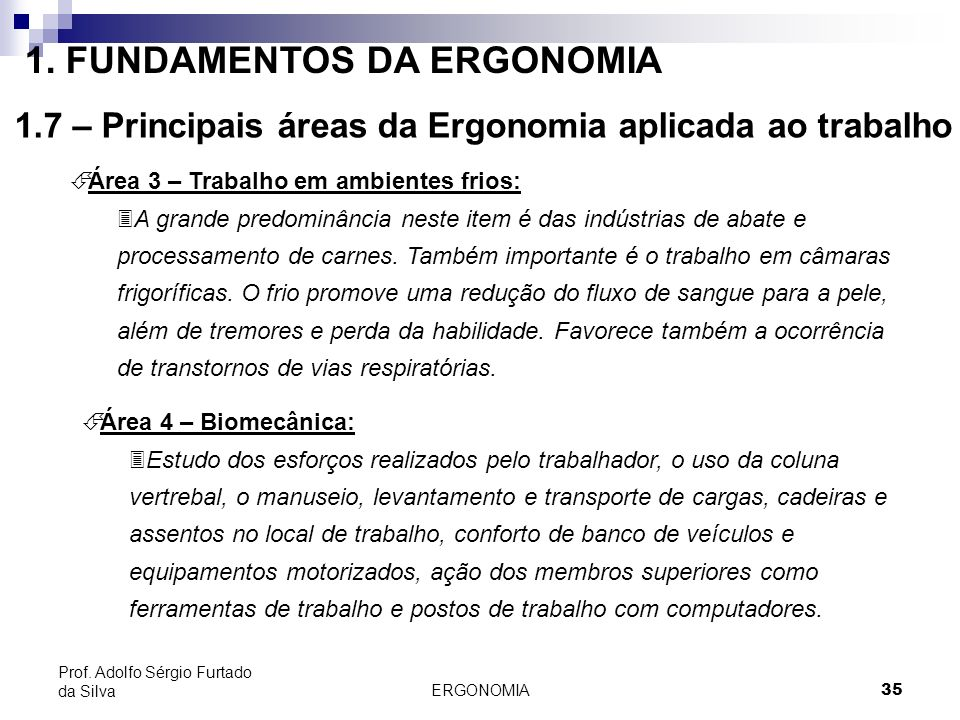 ERGONOMIA 35 Prof. Adolfo Sérgio Furtado da Silva É Área 3 – Trabalho em ambientes frios: 3A grande predominância neste item é das indústrias de abate