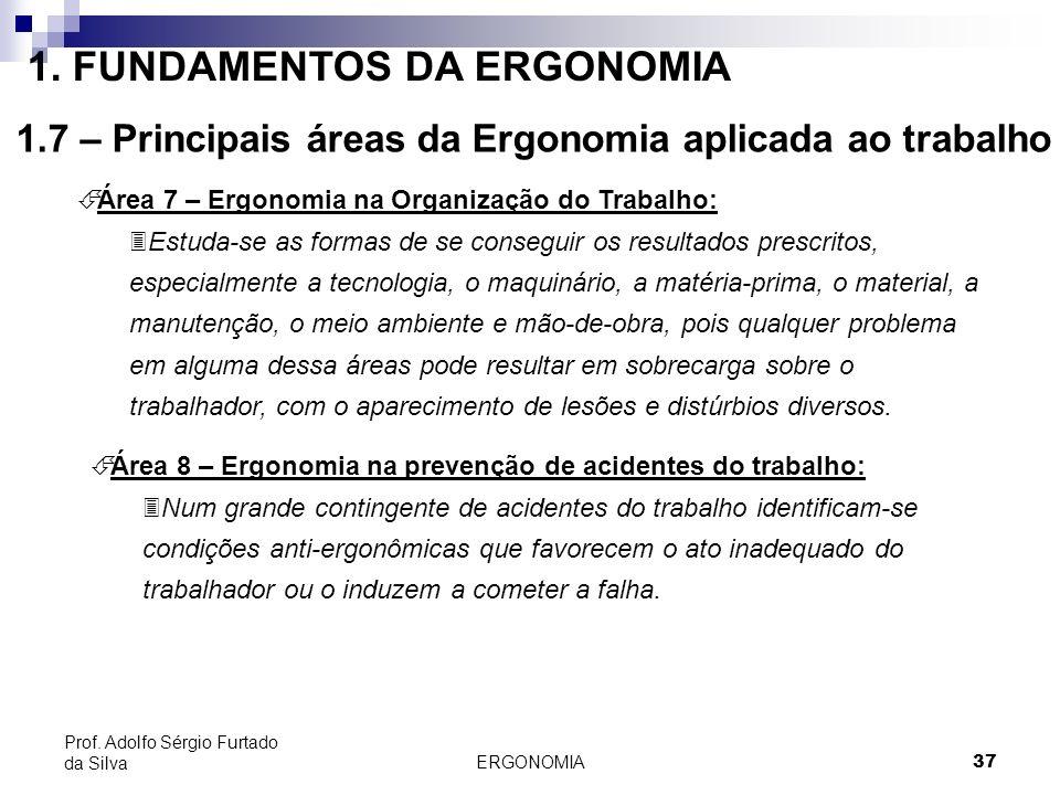 ERGONOMIA 37 Prof. Adolfo Sérgio Furtado da Silva É Área 7 – Ergonomia na Organização do Trabalho: 3Estuda-se as formas de se conseguir os resultados