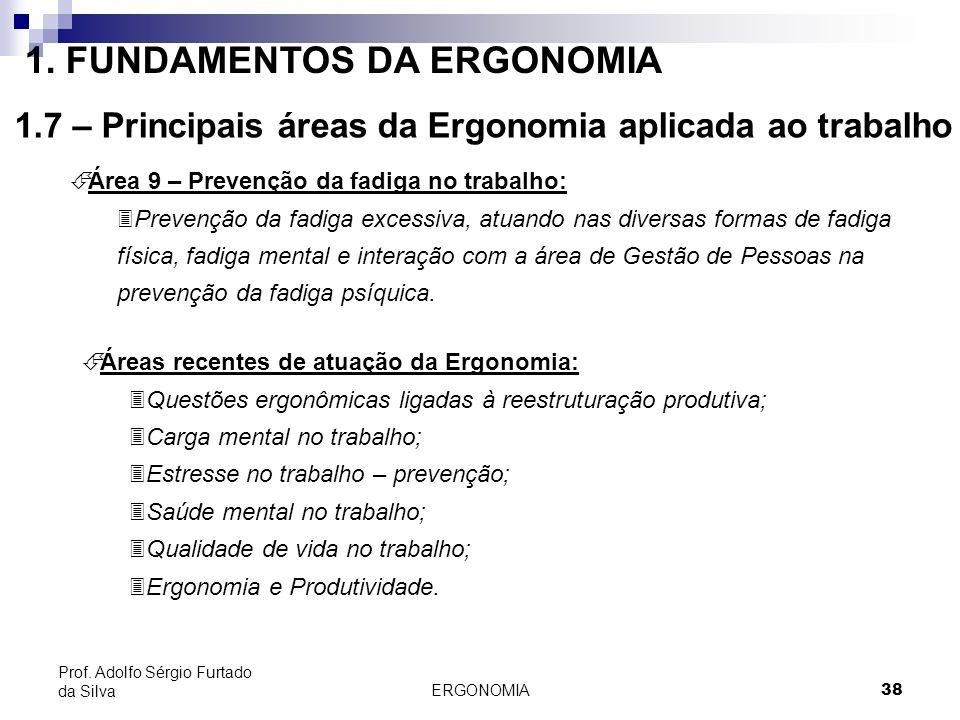 ERGONOMIA 38 Prof. Adolfo Sérgio Furtado da Silva É Área 9 – Prevenção da fadiga no trabalho: 3Prevenção da fadiga excessiva, atuando nas diversas for