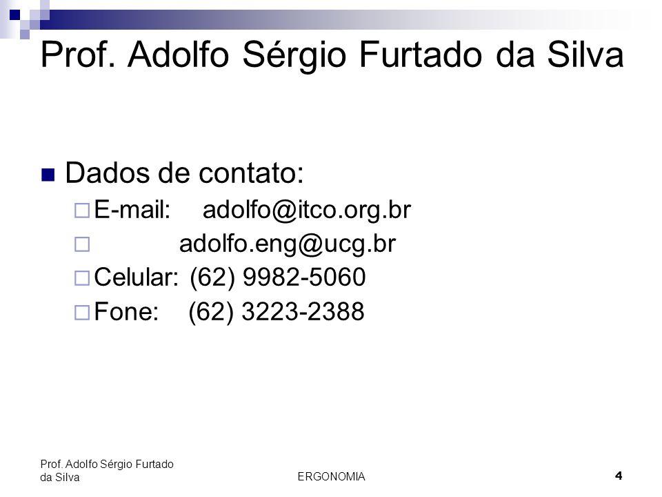 ERGONOMIA 4 Prof. Adolfo Sérgio Furtado da Silva Dados de contato: E-mail: adolfo@itco.org.br adolfo.eng@ucg.br Celular: (62) 9982-5060 Fone: (62) 322