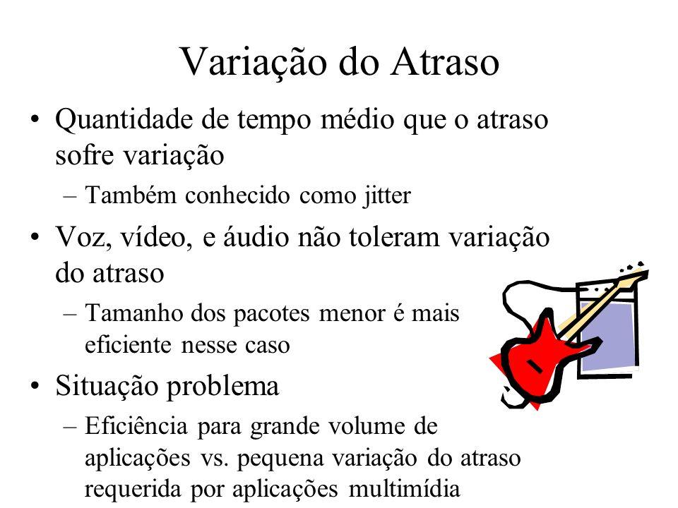 Variação do Atraso Quantidade de tempo médio que o atraso sofre variação –Também conhecido como jitter Voz, vídeo, e áudio não toleram variação do atr