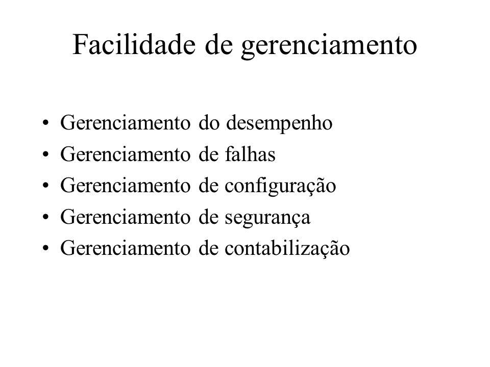 Facilidade de gerenciamento Gerenciamento do desempenho Gerenciamento de falhas Gerenciamento de configuração Gerenciamento de segurança Gerenciamento