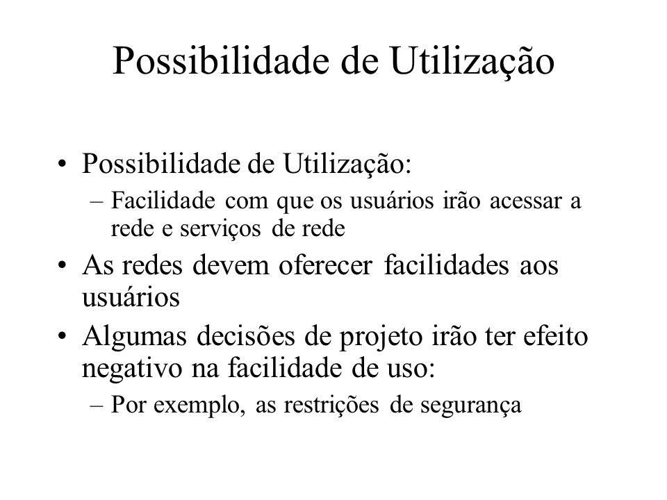 Possibilidade de Utilização Possibilidade de Utilização: –Facilidade com que os usuários irão acessar a rede e serviços de rede As redes devem oferece