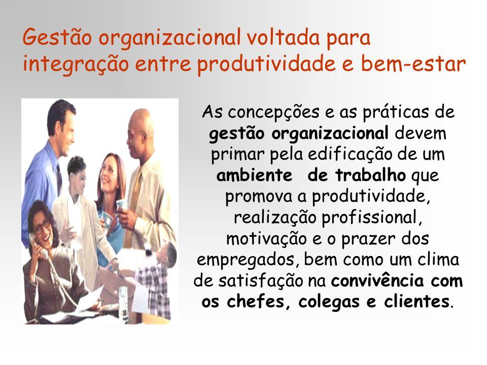 Gestão organizacional voltada para integração entre produtividade e bem-estar As concepções e as práticas de gestão organizacional devem primar pela e