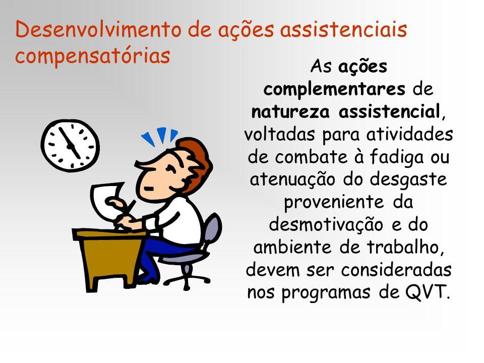 As ações complementares de natureza assistencial, voltadas para atividades de combate à fadiga ou atenuação do desgaste proveniente da desmotivação e