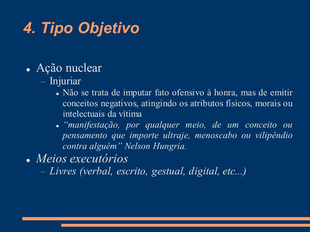 4. Tipo Objetivo Ação nuclear Injuriar Não se trata de imputar fato ofensivo à honra, mas de emitir conceitos negativos, atingindo os atributos físico