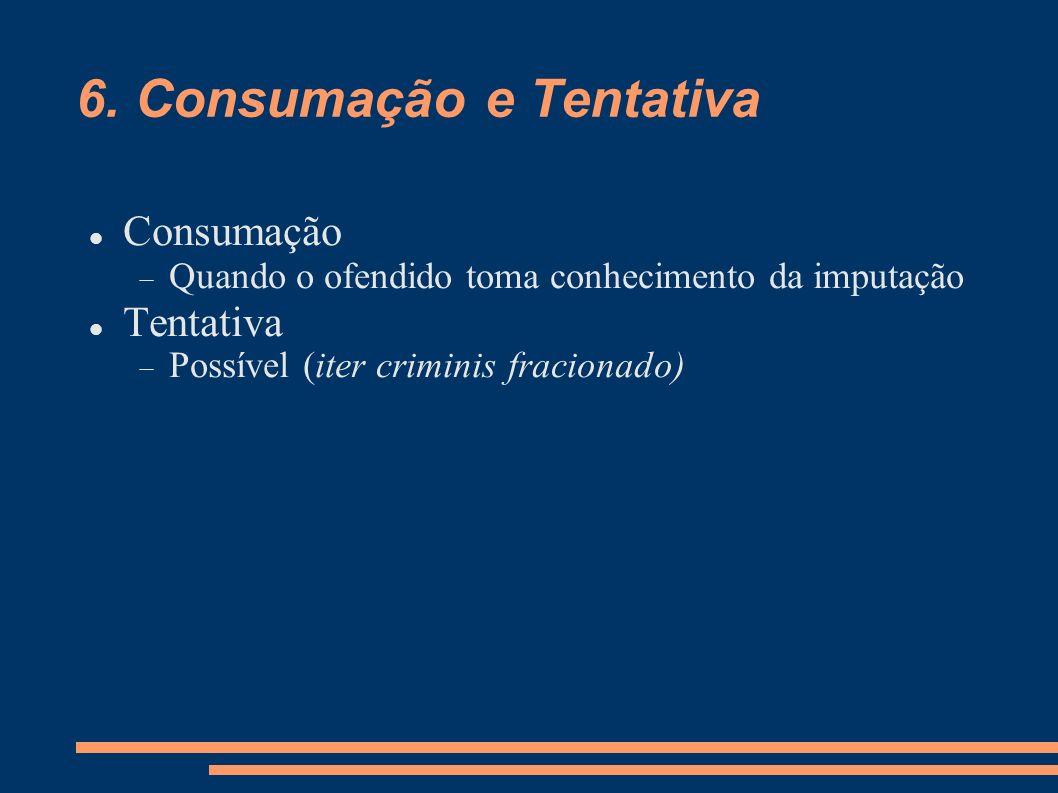 6. Consumação e Tentativa Consumação Quando o ofendido toma conhecimento da imputação Tentativa Possível (iter criminis fracionado)