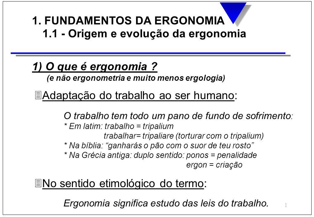 1 1. FUNDAMENTOS DA ERGONOMIA 1.1 - Origem e evolução da ergonomia 1) O que é ergonomia ? (e não ergonometria e muito menos ergologia) 3Adaptação do t