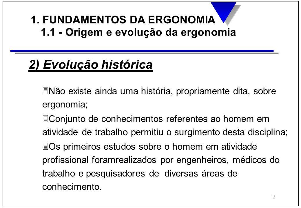 2 1. FUNDAMENTOS DA ERGONOMIA 1.1 - Origem e evolução da ergonomia 2) Evolução histórica 3Não existe ainda uma história, propriamente dita, sobre ergo